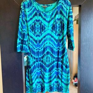 Express Blue Teal Tie Dye Pull over Dress - Large